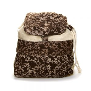 Vegan-friendly backpack with natural khadi cotton and plant dyes.