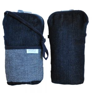 Crossbody phone pouch bag in upcycled denim