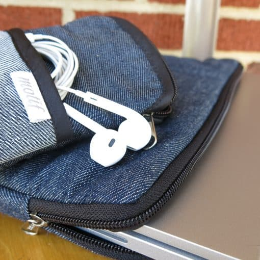 Men's cross body phone pouch in upcycled denim