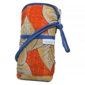 Cross body phone pouch made with recycled saris