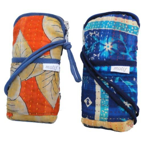 Crossbody phone bags in recycled saris