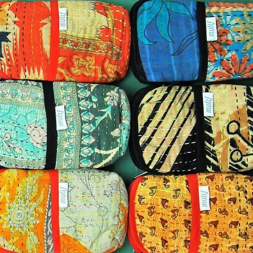Crossbody phone pouch color swatch of recycled saris, kantha.