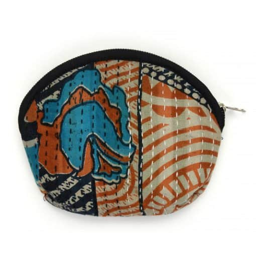 Recycled sari, kantha medium coin purse.