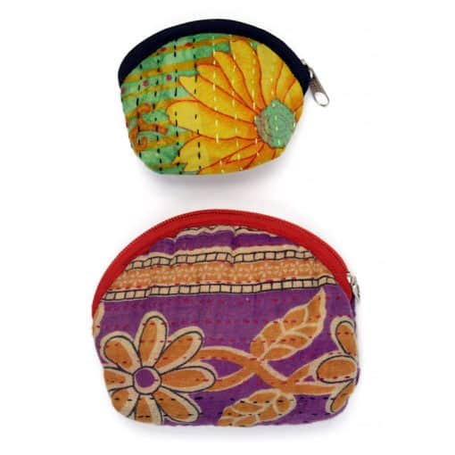 Recycled sari, kantha small coin purse.