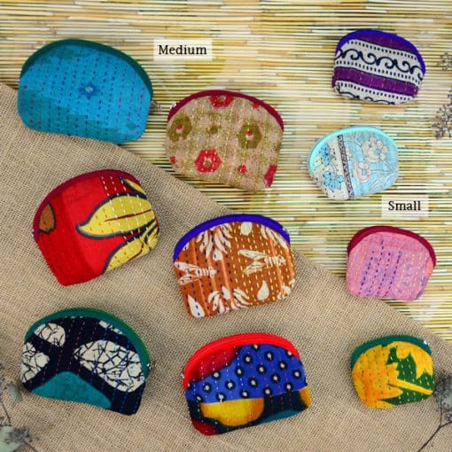 Recycled sari, kantha small and medium coin purses.