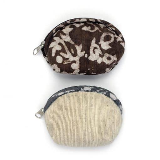 Vegan-friendly coin purse in natural dye fabrics.
