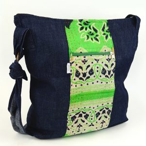 Crossbody tote with adjustable strap in recycled denim and recycled saris, kantha.