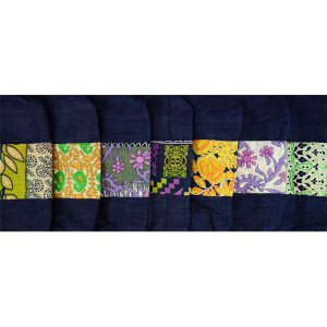 Upcycled denim and recycled sari, kantha, swatches.