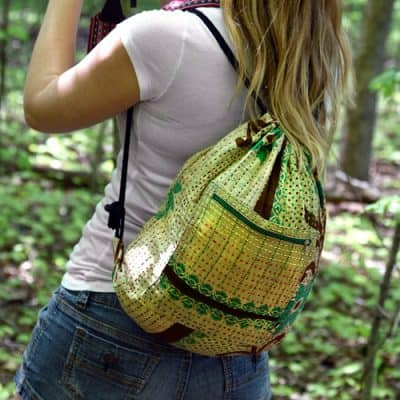 Drawstring backpack with recycled saris, kantha.
