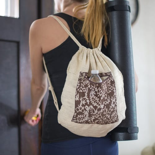 Vegan-friendly drawstring backpack with khadi cotton and natural dyes.