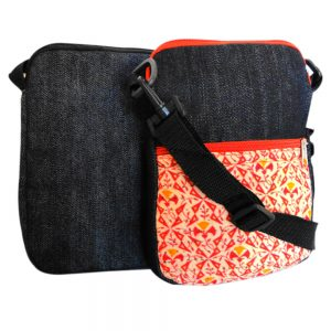 Tablet, EBook sleeve or bag made with recycled fabrics and cross-body detachable strap.