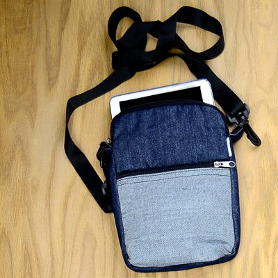 EBook bag in upcycled denim with adjustable, detachable, cross-body strap.