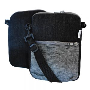 EBook sleeve or bag in upcycled denim with adjustable, detachable, cross-body strap.