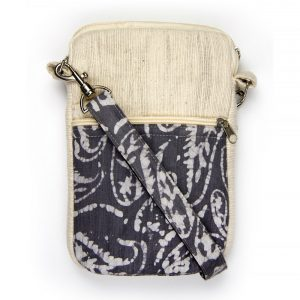Tablet, EBook sleeve or bag made with vegan-friendly fabrics and cross-body detachable strap.