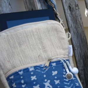 Tablet, EBook sleeve or bag made with natural dye fabrics and cross-body detachable strap.
