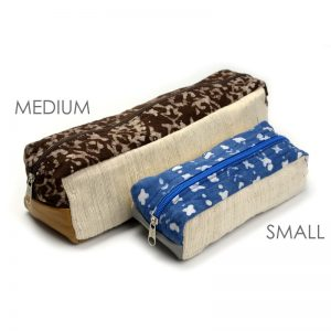 Electronic cord case, medium & small, in vegan-friendly materials.