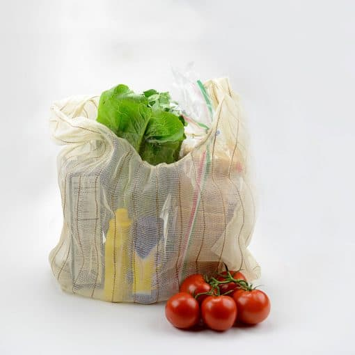 Eco-friendly foldaway shopping bag in jute cotton blend.