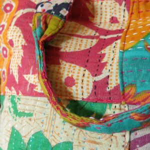 Small patch purse with recycled saris - detail.