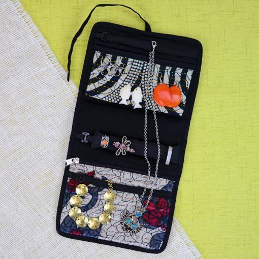 Jewelry, jewellery roll in recycled saris as travel accessories.