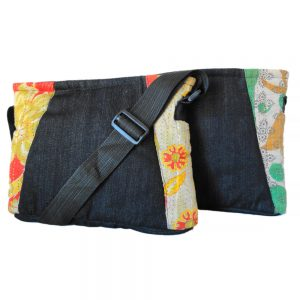 Crossbody laptop bag in upcycled denim and recycled saris.