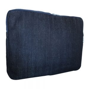 Large laptop sleeve in upcycled denim