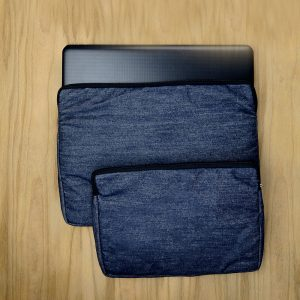"Men's laptop covers in upcycled denim for 17"" 43cm and 14"" 36cm"