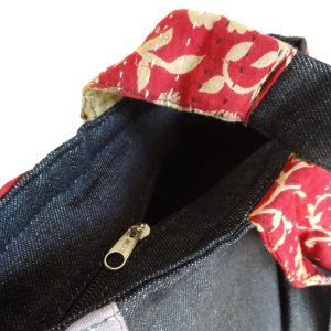 Large tote with zip close in upcycled denim, recycled saris - detail.