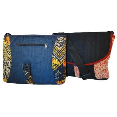 Messenger bag, laptop bag in upcycled denim and recycled saris.
