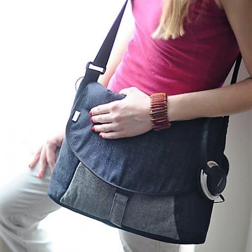Messenger bag, laptop bag in recycled denim.