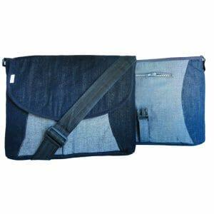 Men's messenger bag, laptop bag in upcycled denim.