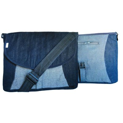 Men's messenger bag, laptop bag in upcycled denim.