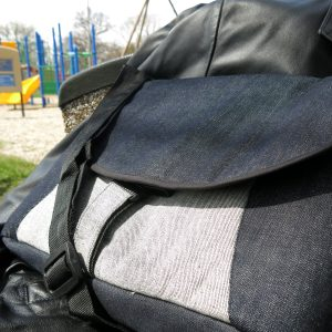 Men's messenger bag, laptop bag in recycled denim.