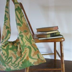 shoulder tote in recycled saris, kantha