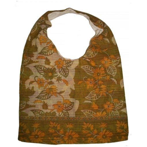 shoulder tote in recycled saris, kantha