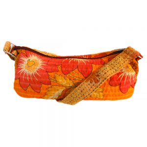 small shoulder bag in recycled saris kantha