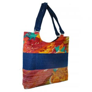 Handy tote in upcycled denim with recycled sari trim.