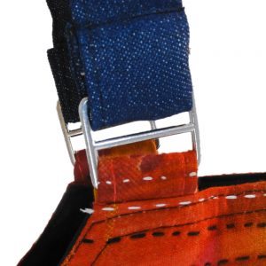 Handy tote in upcycled denim and recycled sari - strap detail.