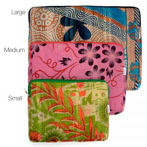 Recycled sari, kantha, laptop covers 3 sizes.
