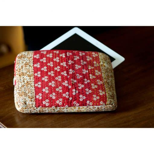 Recycled sari, kantha, tablet, iPad sleeve. Well padded.