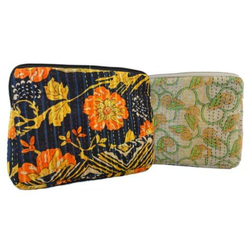 iPad, tablet sleeve, case in recycled sari, kantha.