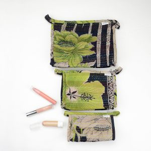 Matching set of Large, Medium and Small toiletry bags made with recycled saris and waterproof lining.