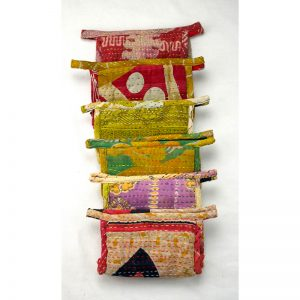 Selection of recycled sari, kantha, toiletry bags.