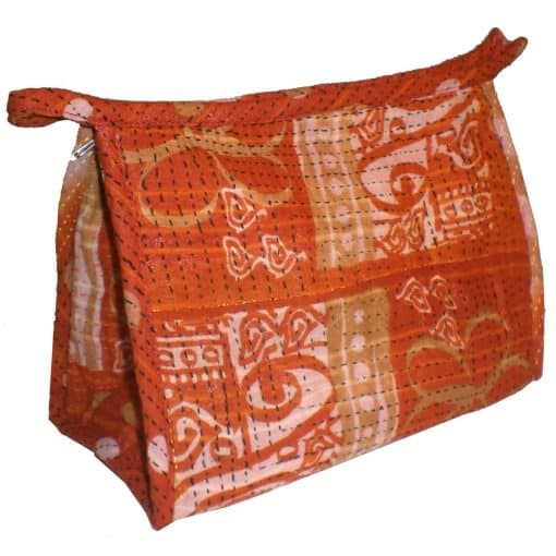 Largest bag of 3 toiletry bags in recycled saris, for big items like brushes.