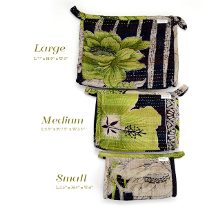 Set of 3 toiletry bags, small, medium and large made with recycled saris, waterproof lining, pocket.
