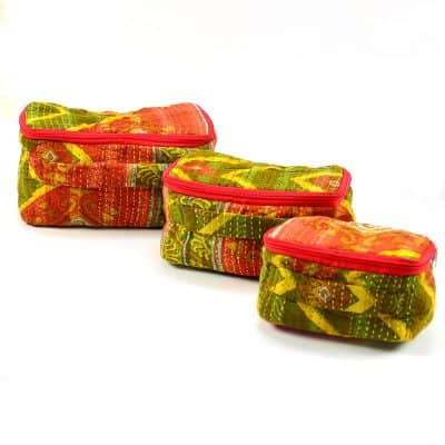 Toiletry case set 3 pcs, small, medium, large in recycled saris with handle.