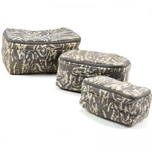 3 bag set of box style toiletry bags made with vegan friendly materials, waterproof lining and inside pocket.