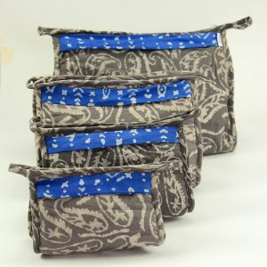 4 sizes matching toiletry bags with straps. vegan-friendly materials with waterproof lining, inside pocket and handle.