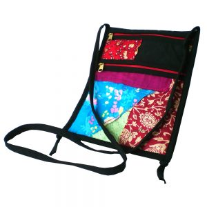 Shoulder or neck strap passport purse with 2 zip pockets on front and 1 at back.
