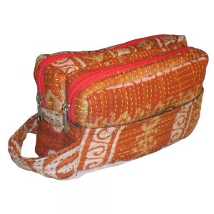 2 in 1 travel toiletry bag in recycled saris, with a detachable purse for smaller items.