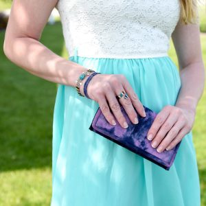 Ladies wallet or wristlet in tie dye cotton. Lightweight and strong.